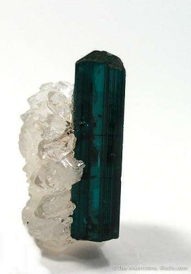 Tourmaline (Indicolite) on Quartz