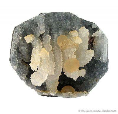 Fluorite and Calcite on Quartz Stalactites, in Geode