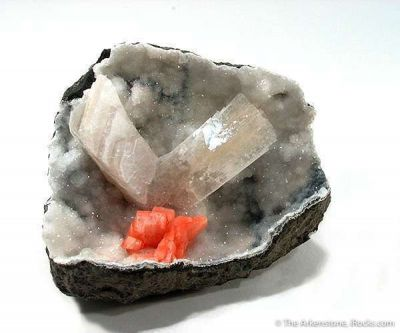 Epistilbite With Heulandite in Quartz Geode