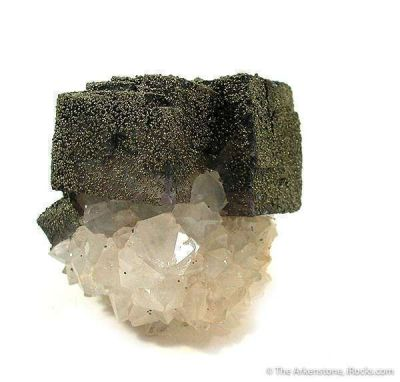 Fluorite Coated With Pyrite on Quartz