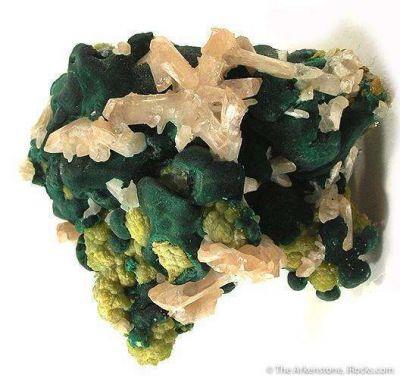 Cerussite With Pyromorphite and Malachite