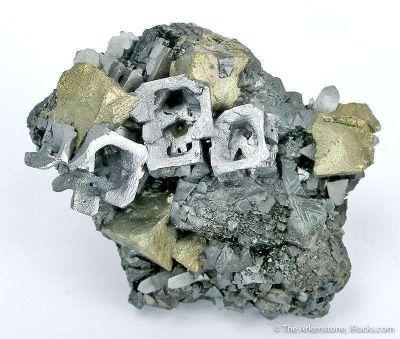 Galena (Skeletal) With Chalcopyrite on Sphalerite