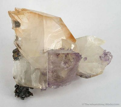 Calcite With Etched Fluorite Corner
