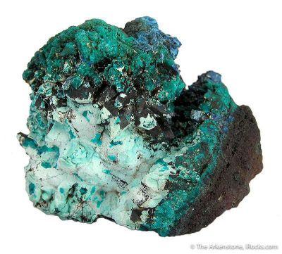 Plancheite (And Chrysocolla?) Pseudo. After Calcite on Dioptase