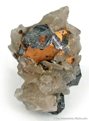 Ilmenite With Cassiterite on Smoky Quartz