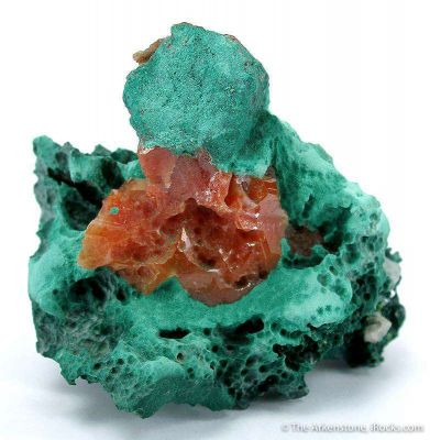 Cerussite With Chalcotrichite Inclusions on Malachite