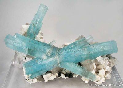 Aquamarine on Quartz and Feldspar,