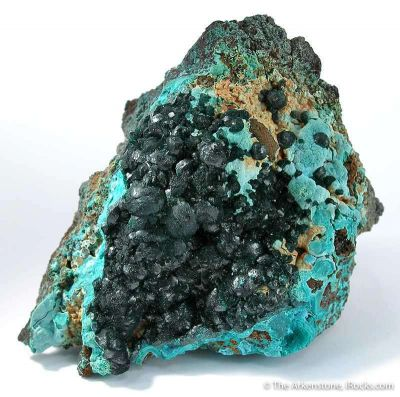 Pseudomalachite on Chrysocolla
