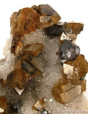 Siderite With Galena on Quartz