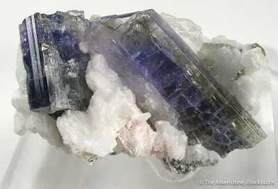 Tanzanite on Calcite