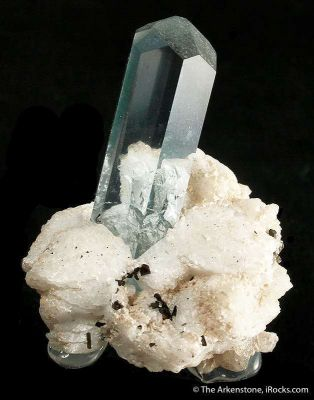 Beryl Var. Aquamarine on Albite