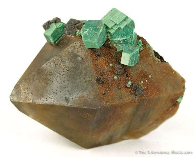 Metazeunerite on Smoky Quartz
