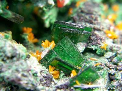 Wulfenite With Kasolite, Torbernite, Guilleminite and Malachite