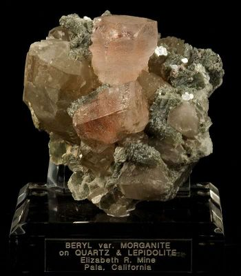 Morganite on Quartz With Lepidolite