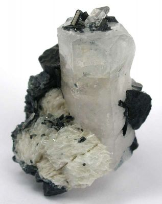 Goshenite With Schorl on Albite