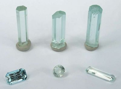 Aquamarine (Rough and Cut Set)
