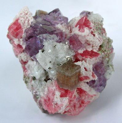 Apatite, Rhodochrosite, Fluorite, Quartz