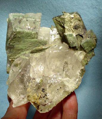 Adularia, Quartz, Actinolite (Var: Byssolite)