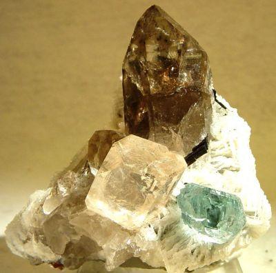 Beryl (Var: Aquamarine), Topaz, Quartz (Var: Smoky Quartz)