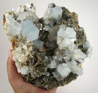 Beryl (Var: Aquamarine), Fluorite, Muscovite