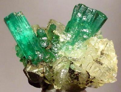 Beryl (Var: Emerald), Calcite, Pyrite