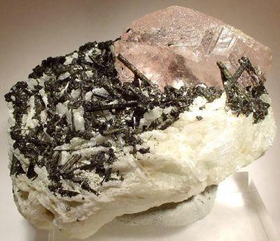 Beryl (Var: Morganite), Tourmaline, Albite