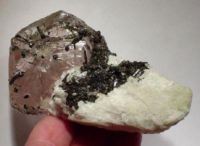 Beryl (Var: Morganite), Elbaite, Albite