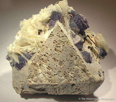 Microcline (Twinned) With Albite & Lepidolite