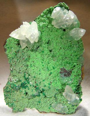 Calcite, Conichalcite, Adamite (Var: Cuprian Adamite)