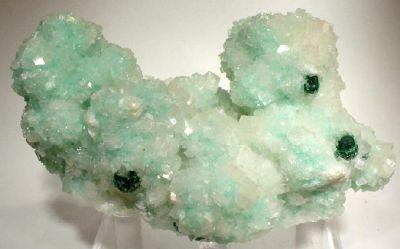 Calcite, Dioptase, Malachite