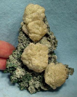 Cerussite, Rosasite, Calcite