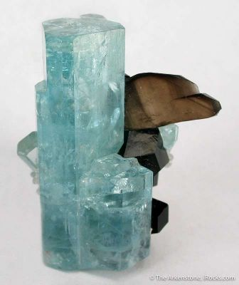 Aquamarine With Smoky Quartz (Twin) and Schorl