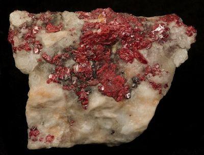 Cinnabar, Calcite