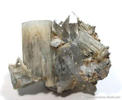 Fluorapatite With Topaz on Zinnwaldite and Quartz