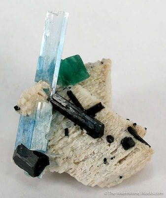 Aquamarine With Schorl and Fluorite on Feldspar