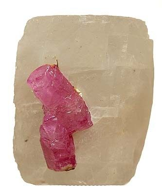 Corundum (Var: Ruby), Calcite
