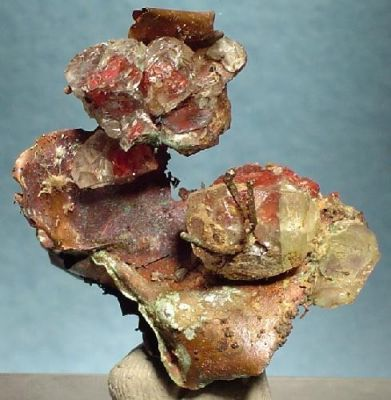 Cuprite (Var: Chalcotrichite), Calcite, Copper