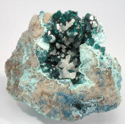 Dioptase, Calcite, Chrysocolla