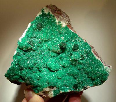 Dioptase, Malachite, Calcite