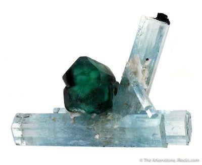 Fluorite on Aquamarine