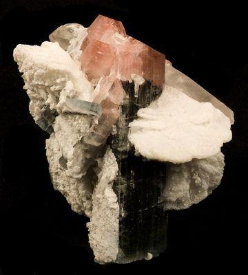 Elbaite, Albite (Var: Cleavelandite), Quartz