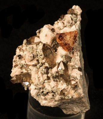 Helvite, Quartz (Var: Smoky Quartz), Feldspar Group