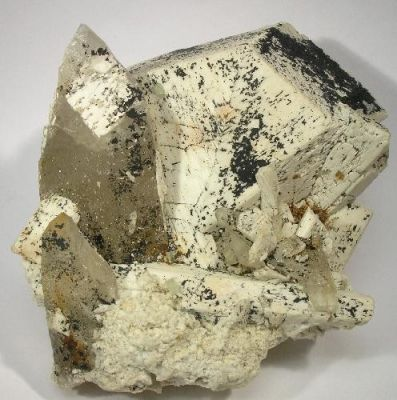 Microcline, Quartz (Var: Smoky Quartz), Fluorite