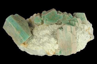 Microcline (Var: Amazonite), Albite