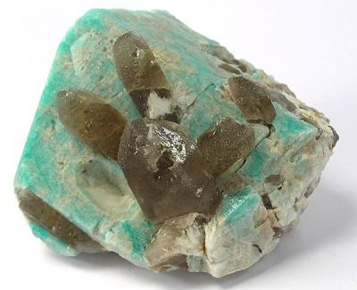 Microcline (Var: Amazonite), Quartz (Var: Smoky Quartz)