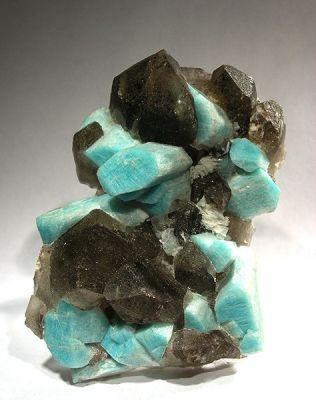 Microcline (Var: Amazonite), Quartz (Var: Smoky Quartz)