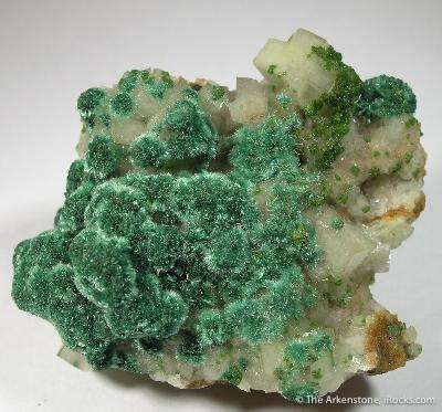 Brochantite & Conichalcite on Calcite