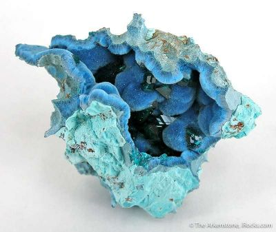 Dioptase on Shattuckite in Chrysocolla Geode