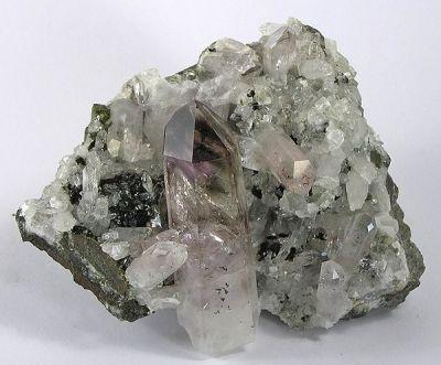 Quartz (Var: Amethyst), Quartz (Var: Smoky Quartz), Epidote, Lepidocrocite