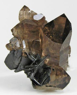 Quartz (Var: Smoky Quartz), Hematite